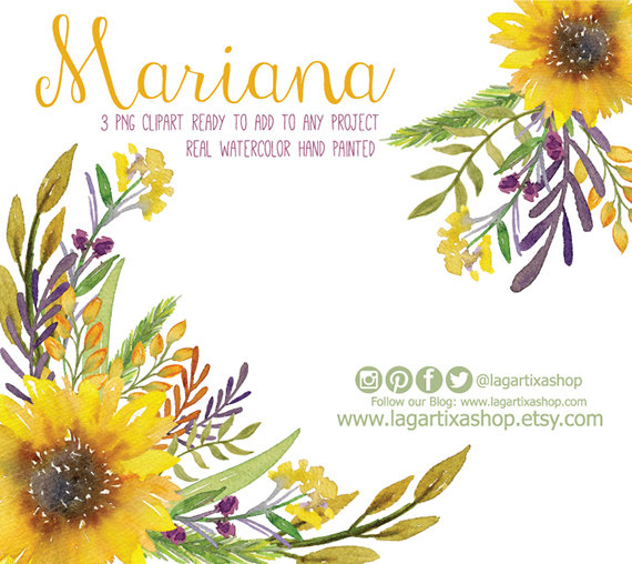 Watercolor Sunflower Clipart Floral Frame PNG By LagartixaShop