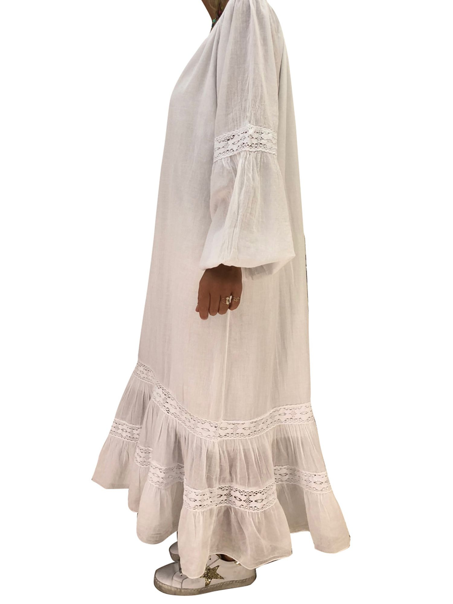 055ceeff775 Casual Plus Size Women V neck Long Sleeve Loose Kaftan Baggy Tunic Ruffle  Maxi Dress