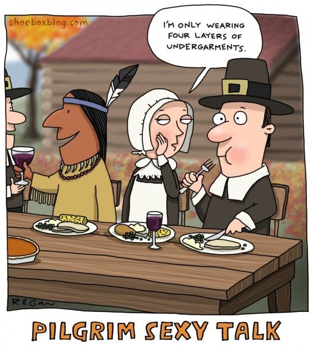 A Pilgrim couple getting frisky at the dinner table ...