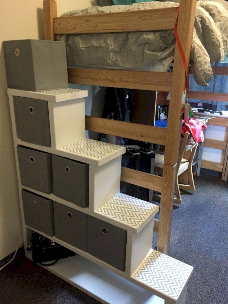 College loft bed ideas  Creative dorm room storage organization ideas on a budget