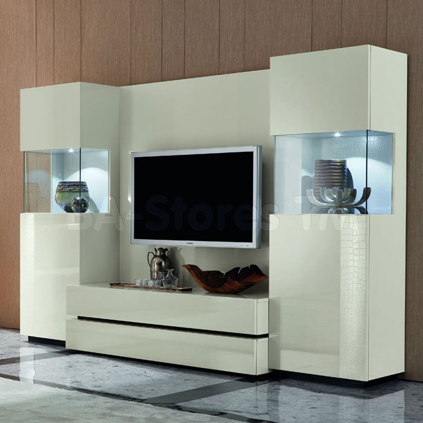 Rossetto Usa Nightfly White Wall Unit With Curios