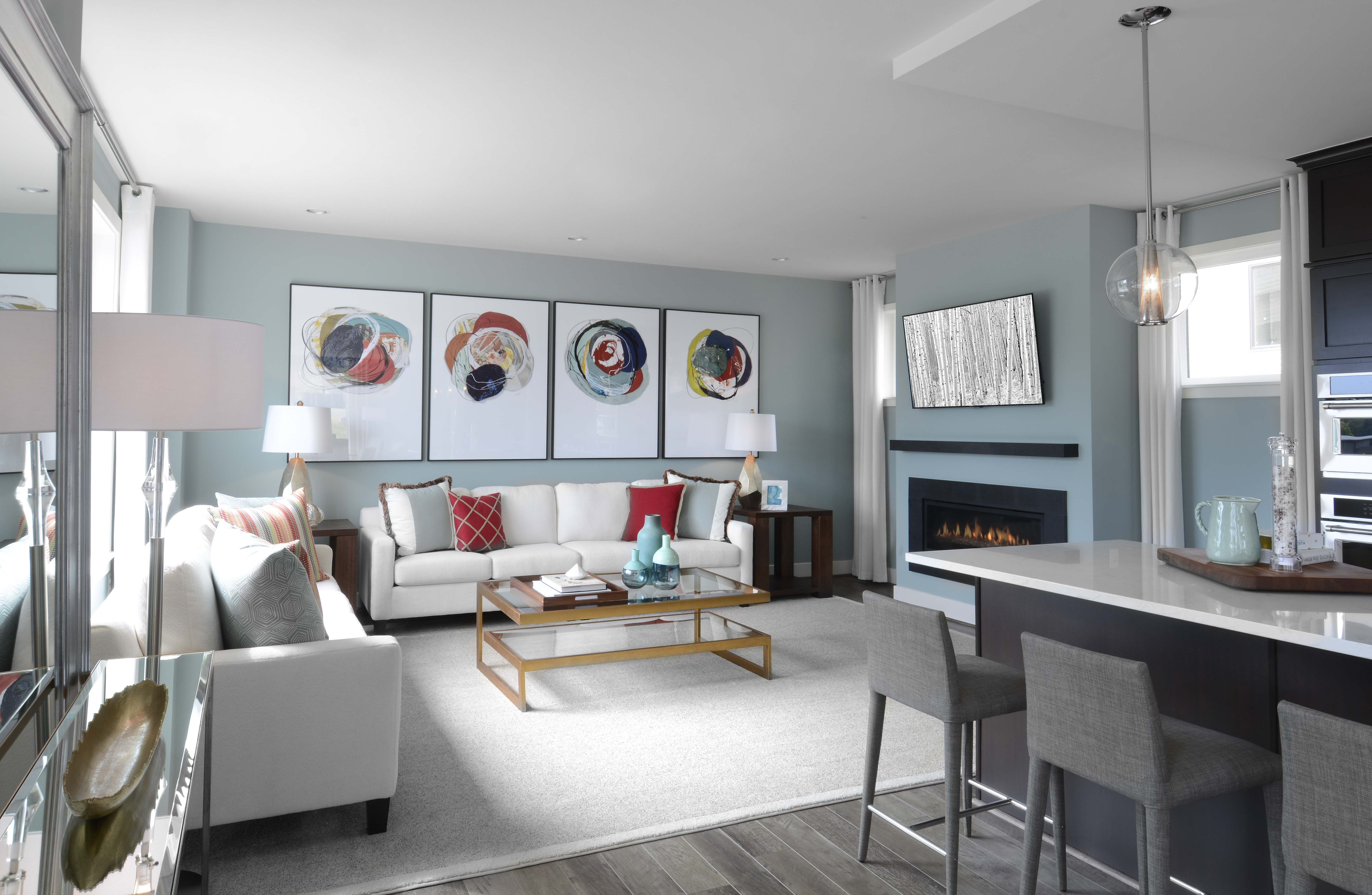 spacious contemporary family room with neutral palette and red and rh pinterest ca
