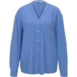 Photo of Tom Tailor Damen Bluse mit Brusttaschen, blau, unifarben, Gr.38 Tom TailorTom Tailor