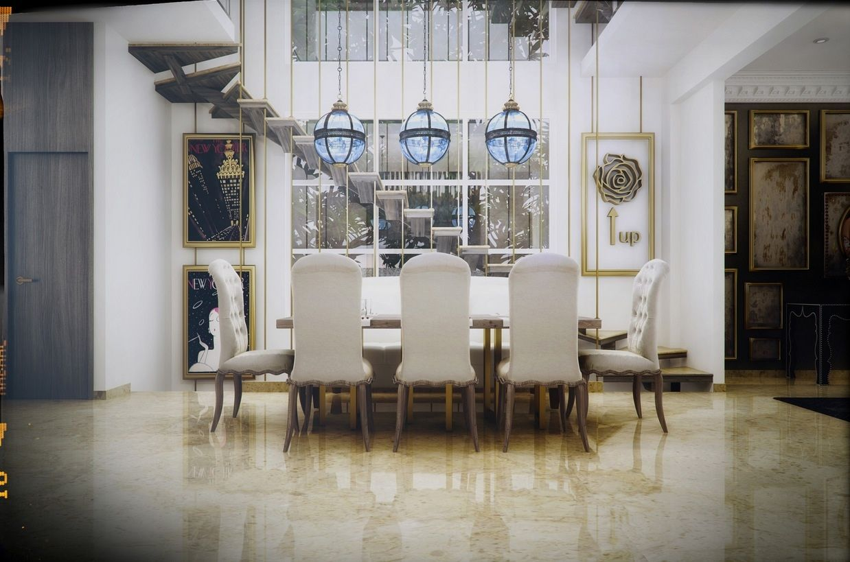Dining Room Whimsical Dining Room Design With White Wooden Stair Also Round Blue Classic Ceiling Lighting And Ladder Back White Fashioned Dining Chair Besides Rectangle Contemporary Wood Dining Table  Rectangle Frame Wall Art  Plain Ceramic Floor   Impressive Dining Room Design for Entertaining