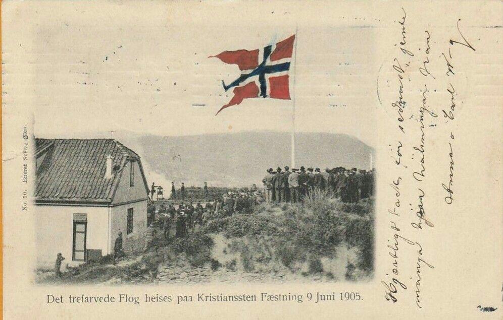 """Sør-Trøndelag fylke Kristiansten festning """"det trefargede flagg heises"""" 9.juni 1905 Utg Sverre Öien"""