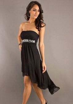 crystals & ruching chiffon strapless empire a-line cocktail dress