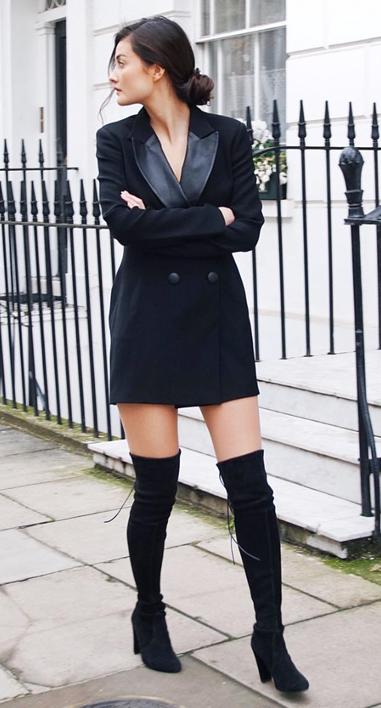 54bd9e03b tuxedo dress | Thigh high boots in 2019 | Tuxedo dress, Dresses, Fashion
