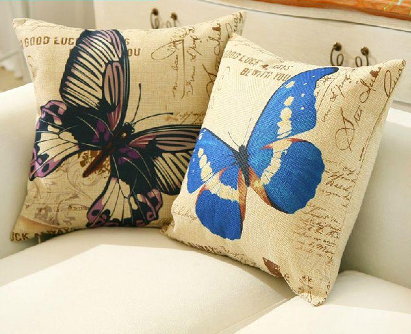 Cheap 18 american vintage pastorales mariposa de lino del algod n fundas de colch n ikea coj n Mariposas decorativas ikea
