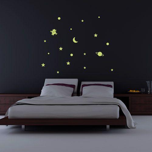 Kit de estrellas y planetas en vinilo fluorescente para for Vinilo techo habitacion