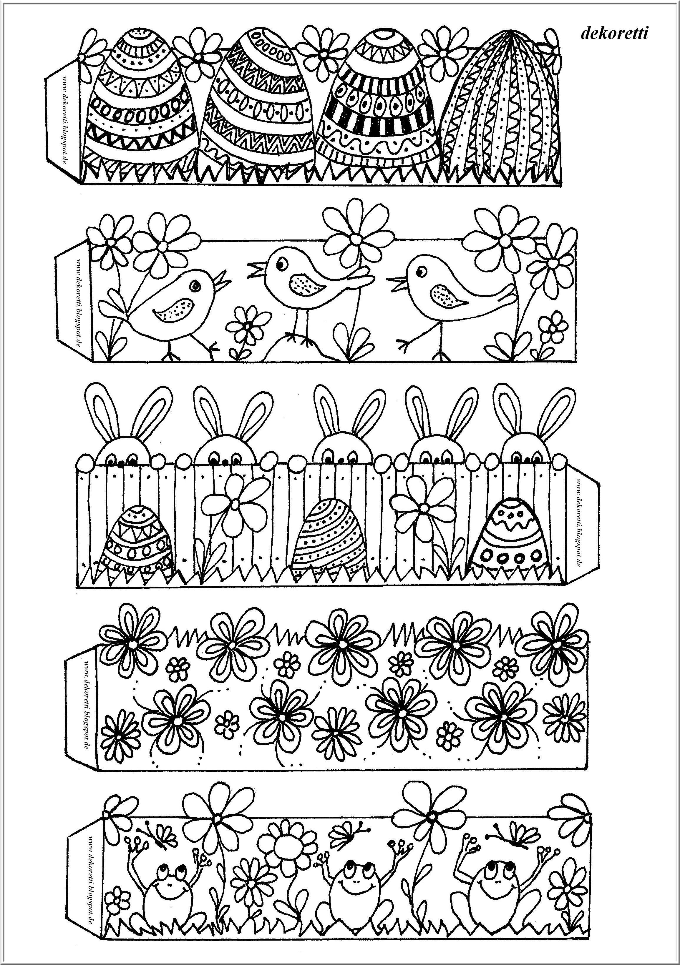 kostenlose Seite zum Ausdrucken und selber Ausmalen, free coloring page, Ostern, Osterdeko, Ostereibanderole, Frühling #coloringpagestoprint