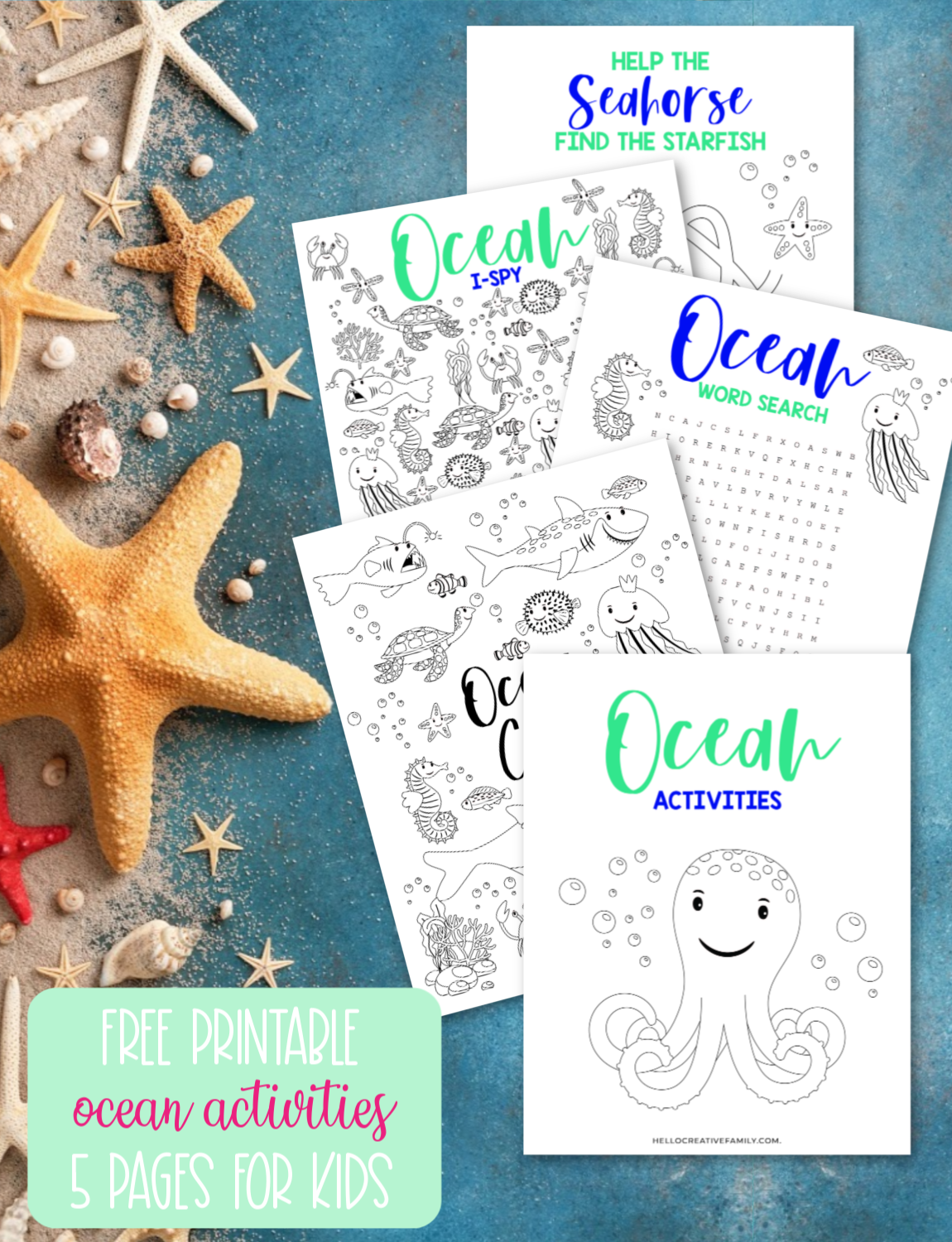 Free Ocean Printable 5 Activity Pages For Kids In