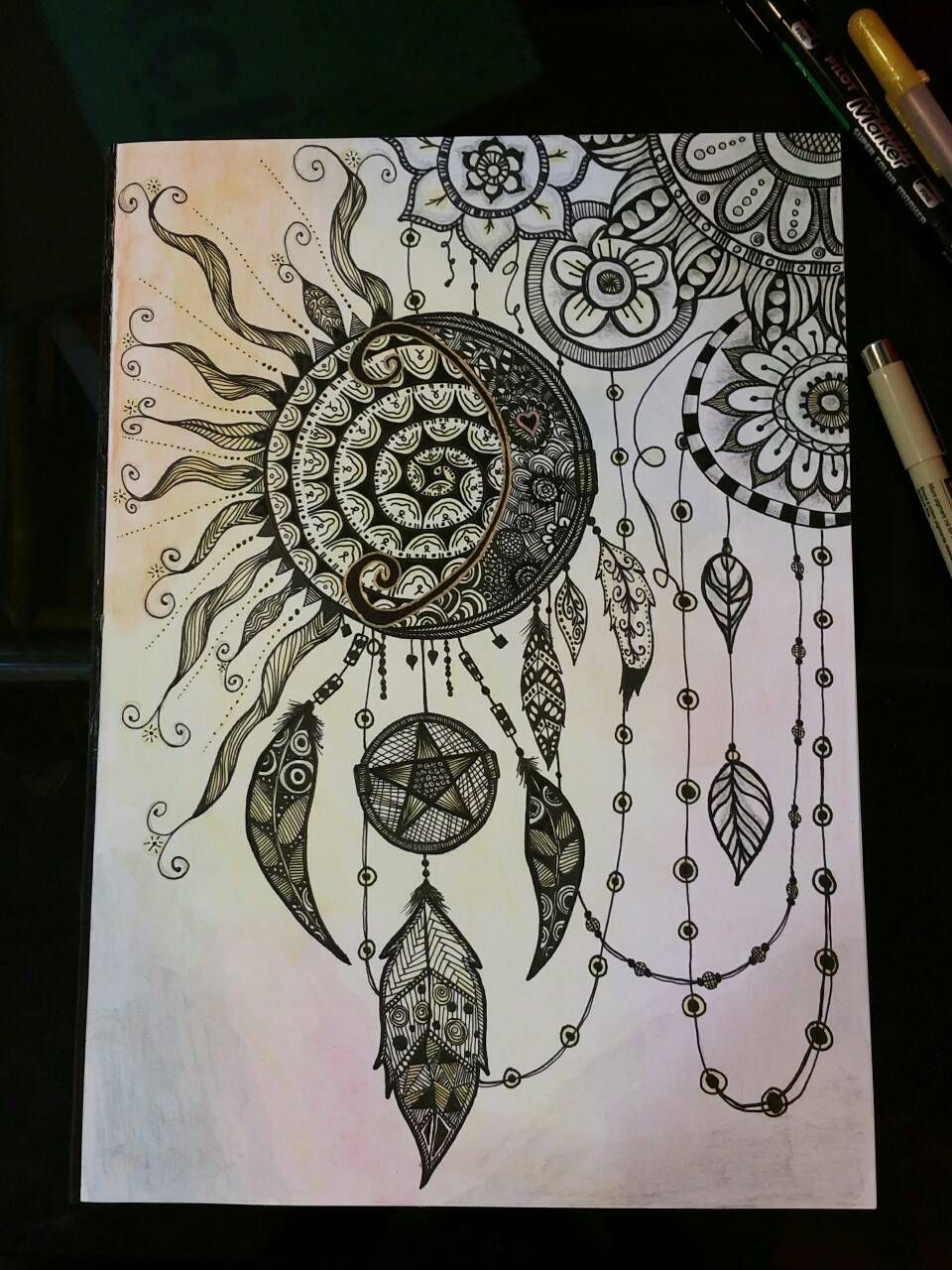 Anti stress colouring doodle and dream - Never Stop Dreaming Zentangle Dreamcatcher