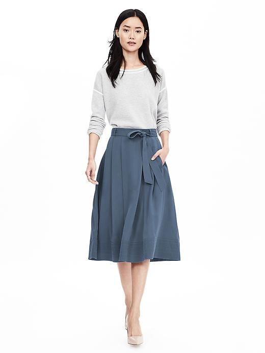 a909786f16dd04 Blue Belted Midi Skirt | Banana Republic | Work outfit | Midi Skirt ...