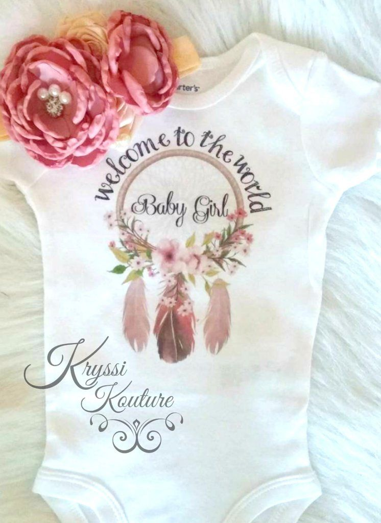 d41b6c9e7fbf Welcome to the World Baby Girl-Bohemian Baby- Newborn Shirt - Hospital  Outfit…