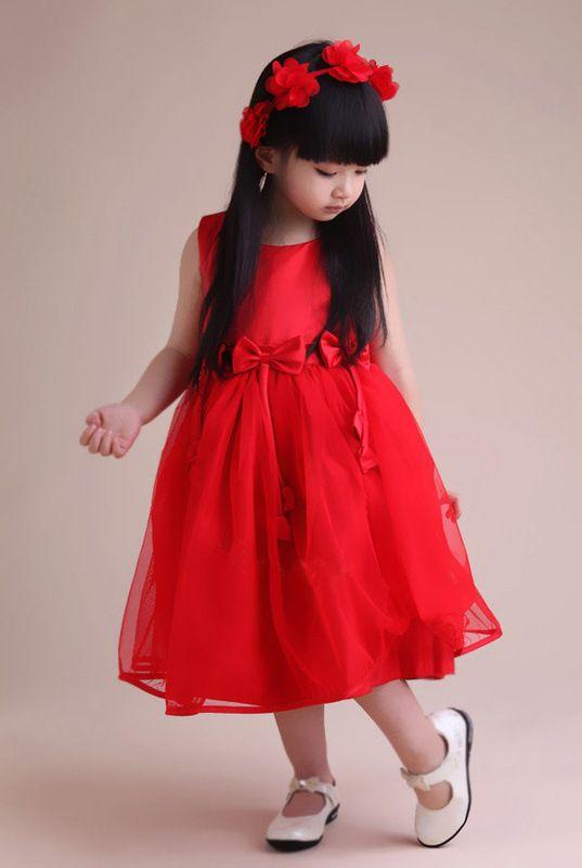 Red Girls Party Dress - Ocodea.com
