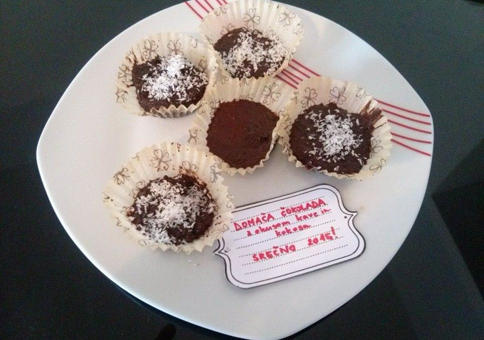 Home made – Coffee Chocolate  Ingredients 160 g butter 150 ml  milk 220 g cocoa powder 30 g  flour 120 g powdered sugar 100 ml  hot coffee coco flour  3 steps and 10 minutes away from your goal 1. step: Put butter, milk, cocoa powder, flour and 100 ml of coffee in a pot and cook it on mild fire till all the butter is melted 2. step: Pour the chocolate in the models and let it cool 3. step: Decorate the chocolate with some cocoa powder