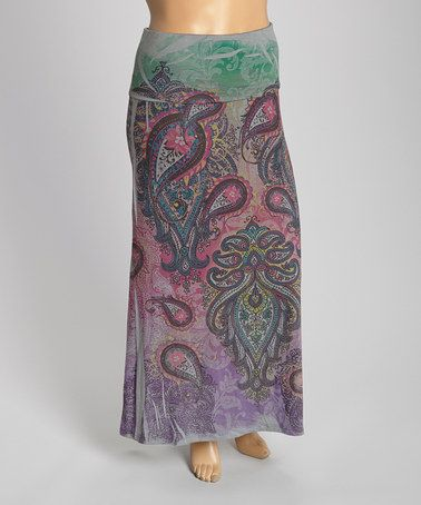 Another great find on #zulily! Charcoal & Pink Paisley Maxi Skirt - Plus #zulilyfinds