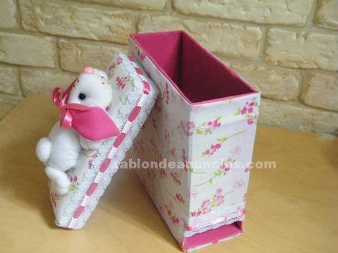 Foto se venden cajitas de cart n decoradas con tela y - Cajas de carton decoradas para bebes ...