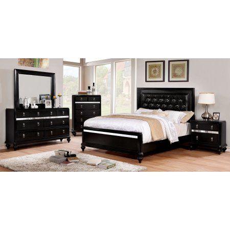 Bedroom Furniture Black Color 4pc Set Eastern King Size Bed Dresser