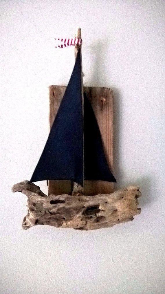 Treibholz Segelboot Sommer Dekoration Handgefertigte Boot Hängen