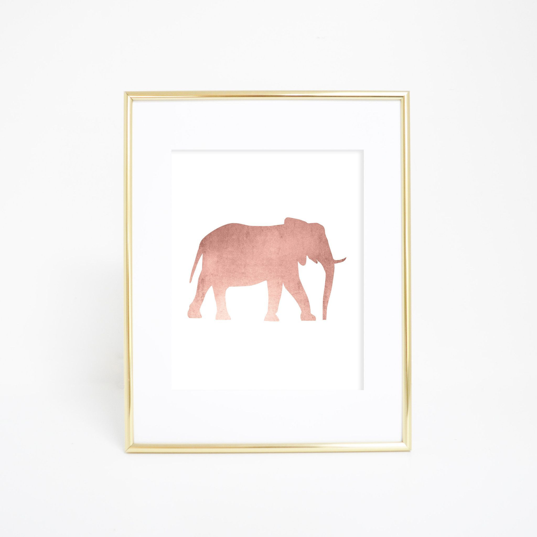 Rose gold elephant artwork wall print products print and artworks