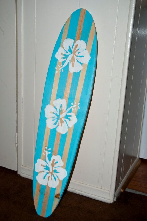 Surfboard Wall Art surfboard wall art - vintage / light blue /hibiscus flower surf
