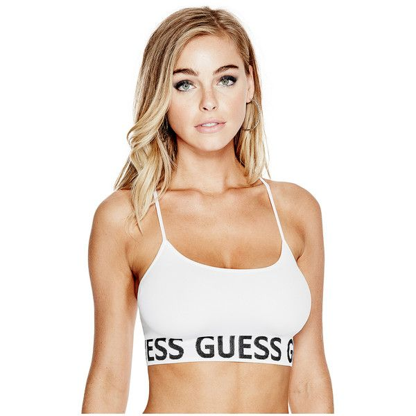 62866d0df20b GUESS Seamless Sports Bra ($17) ❤ liked on Polyvore featuring activewear, sports  bras, white sports bra, logo sportswear and seamless sports bra