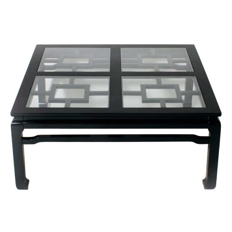 Fretwork Coffee Table.Fretwork Coffee Table In Black Forest Green Lacquer Interior