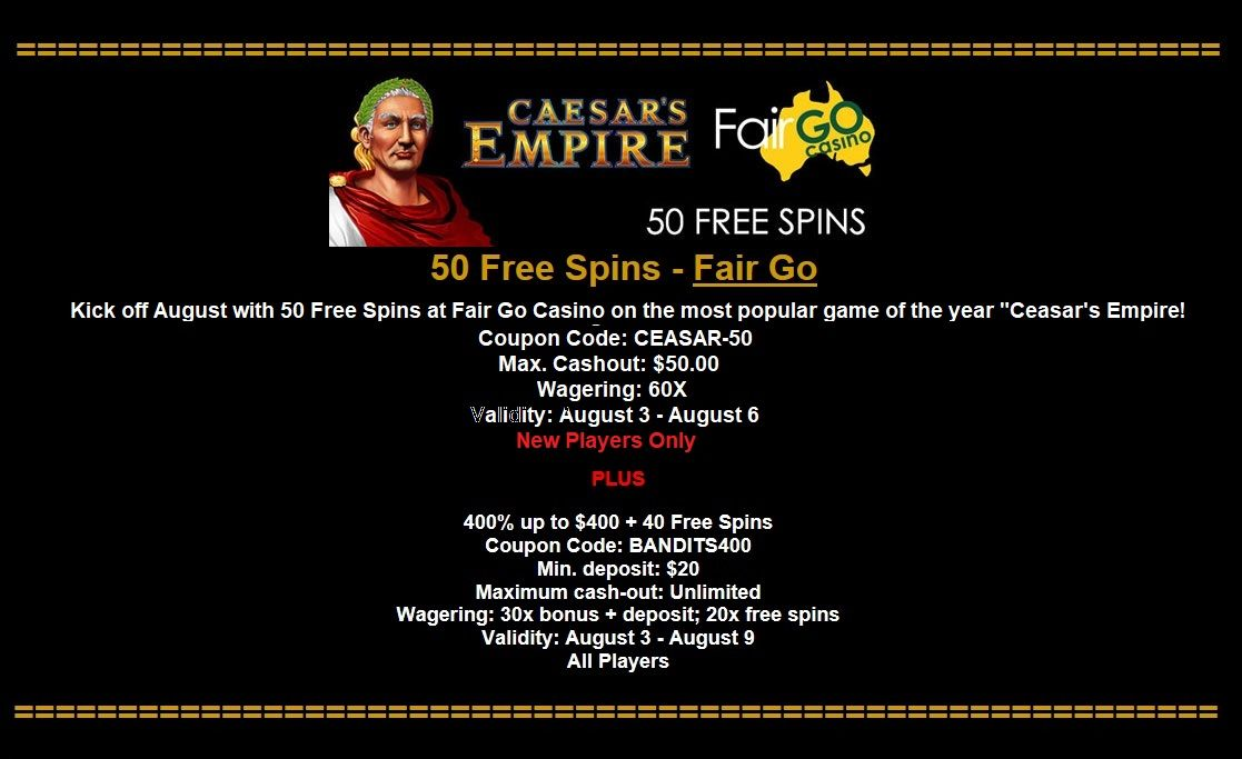 50 Free Spins Fair Go Kick Off August With 50 Free Spins