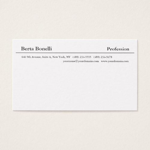 elegant plain white minimalist modern business card