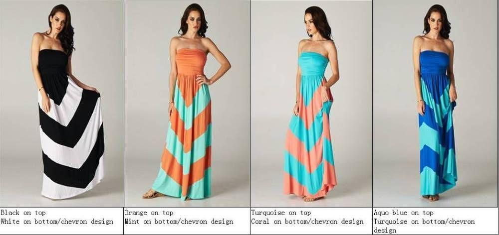 Chevron Empire Maxi Strapless Colorblock Dress Black White Aqua Blue SOFT  S M L #CharmYourPrince #Maxi #Casual