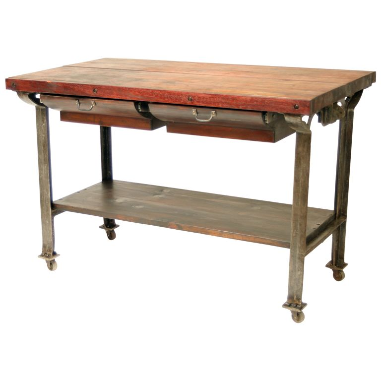 Kitchen Work Table With Storage Vintage industrial butcher block kitchen island butcher block vintage industrial butcher block kitchen island from a unique collection of antique and modern industrial and work tables at workwithnaturefo