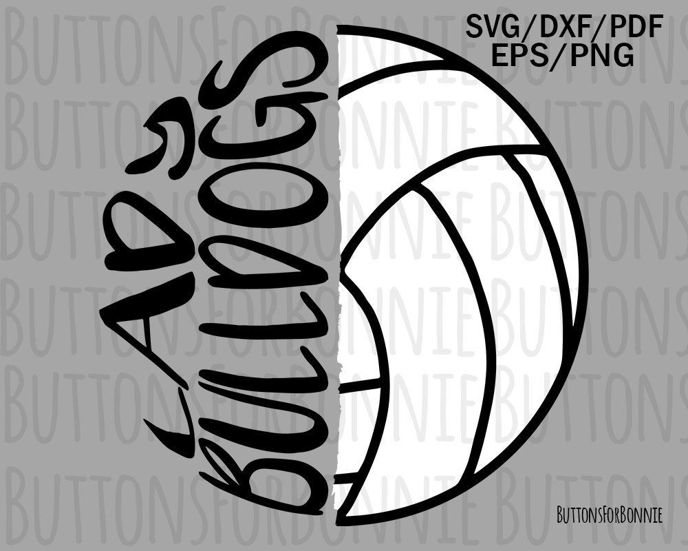 mascot svg cricuit iron on shirt design Bulldogs Volleyball SVG emblem volleyball svg vector cutting file Volleyball Mom