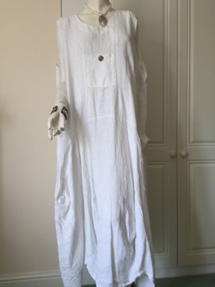 80e4a102b58 Dress in Linen Lagenlook Plus Size Balloon Style White by Sarah Santos of  Italy
