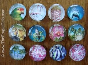 Marble magnets what you ll need mod podge glossy for Small round magnets crafts