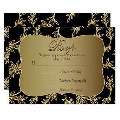 modern victorian gold floral wedding rsvp card wedding