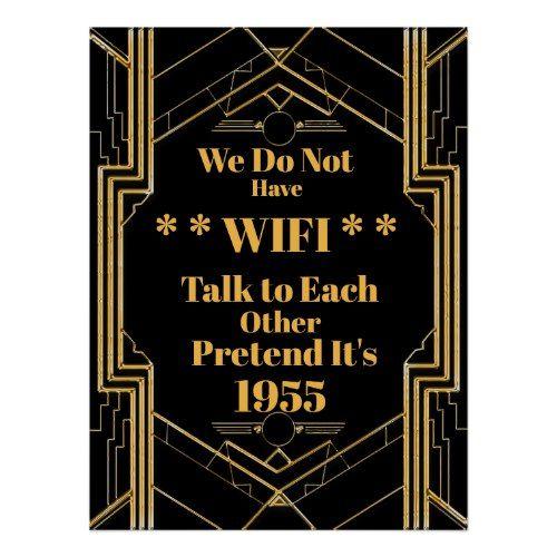Elegant Art Deco Gatsby Unplugged Wedding Poster