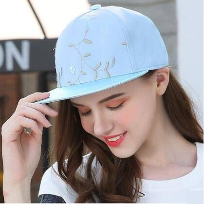 b88ae2f8401 Plant flower embroidered snapback cap for teenage girls UV protection  baseball caps