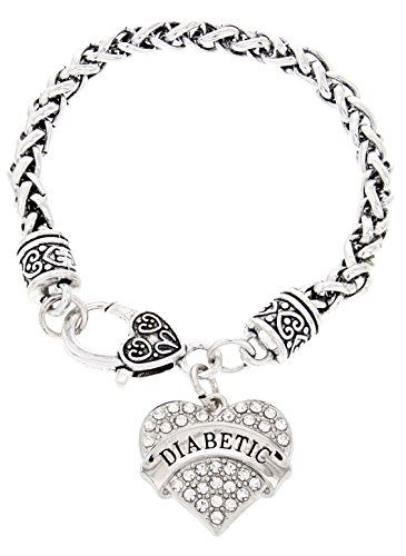Diabetes Bracelet Diabetic Id Crystal Adorned Heart Pendant For Type I Or Ii Diabetics Awareness And