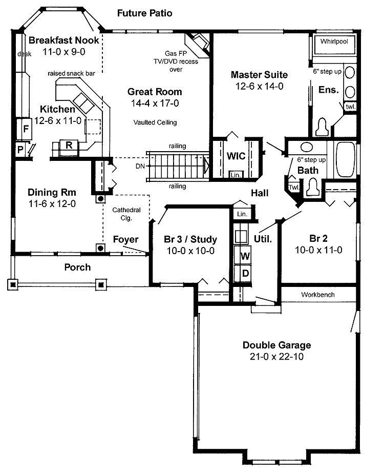 Simple floor plan. Make dining pool table room. Lumber beam support ...