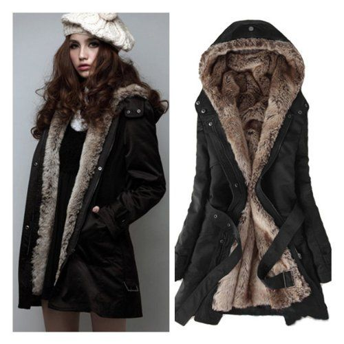 Zicac Women's Thicken Fleece Faux Fur Warm Winter Coat Hood Parka ...