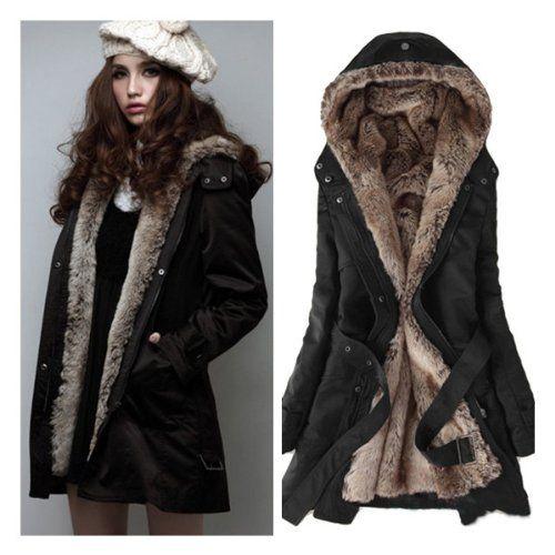 72c10017f8819 Zicac Women`s Thicken Fleece Faux Fur Warm Winter Coat Hood Parka Overcoat  Long Jacket Christmas gift (US0 to ...  68.00