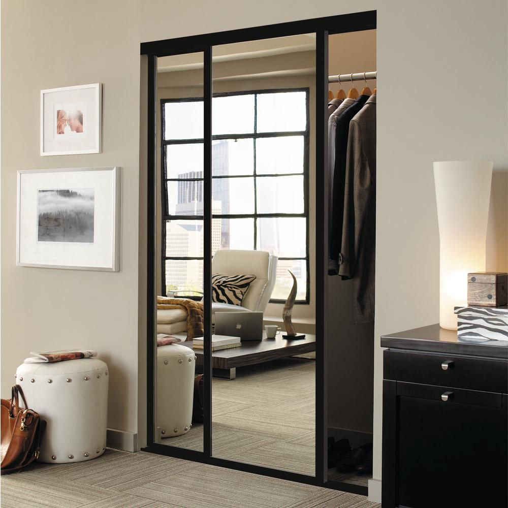 Contractors Wardrobe 72 In X 96 In Concord Bronze Aluminum Frame Mirrored Interior Sliding Door Con 7296bz2x The Home Depot In 2020 Sliding Doors Interior Mirror Closet Doors Sliding Mirror Closet Doors