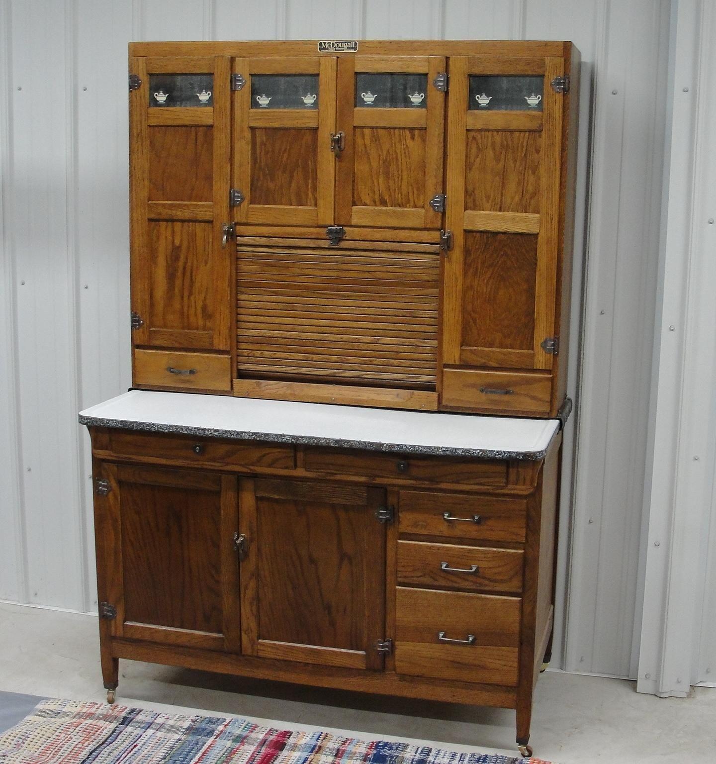 Vintage 1920 McDougall Oak Kitchen Cabinet