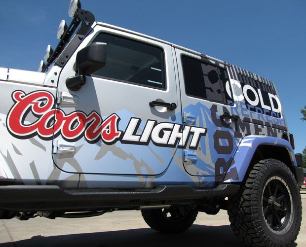 Displays Tension Fabric Exhibits Extrusions More Car Wrap Tire Cover Coors Light