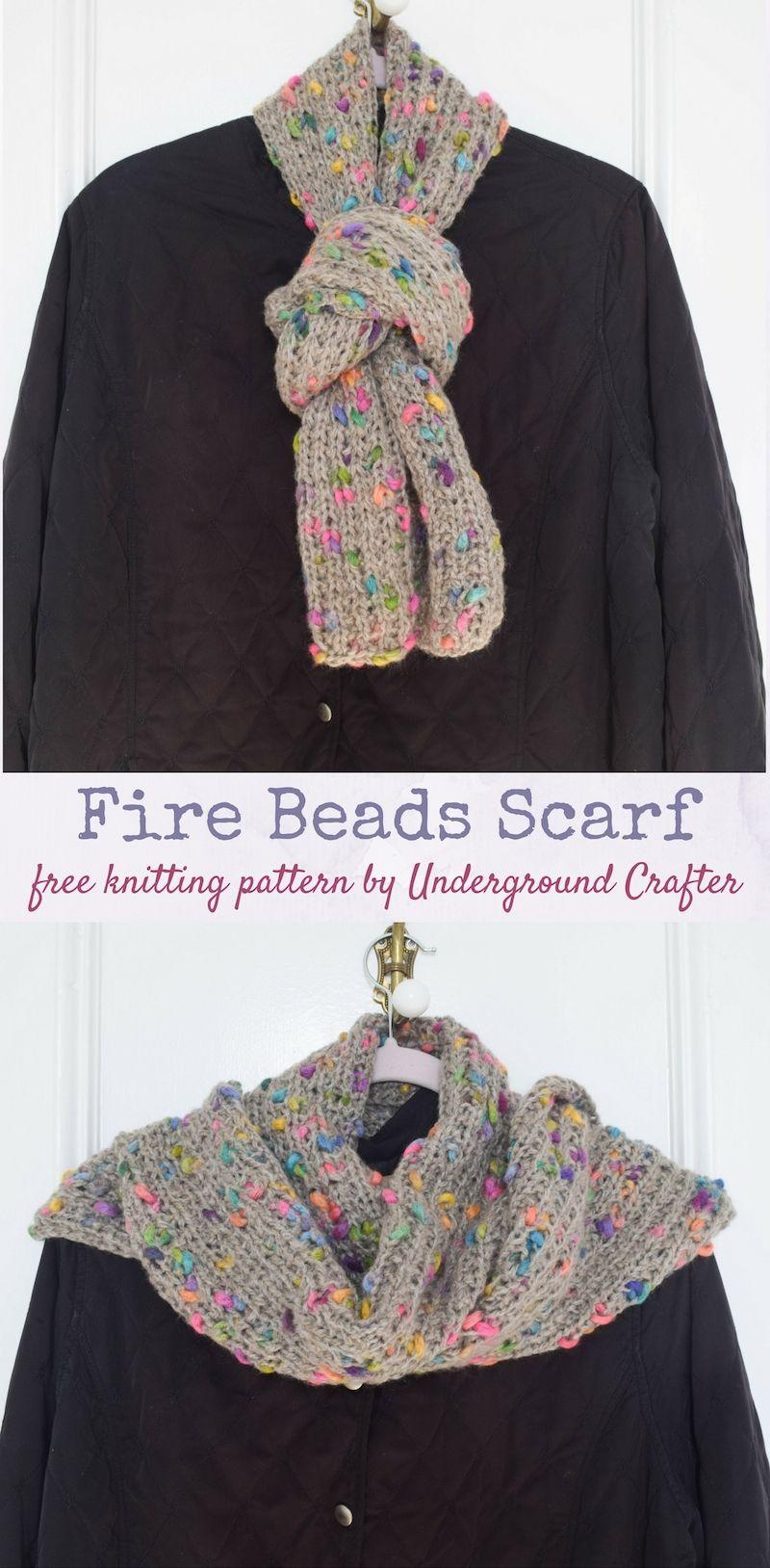 Free knitting pattern: Fire Beads Scarf in Yarnspirations Patons ...