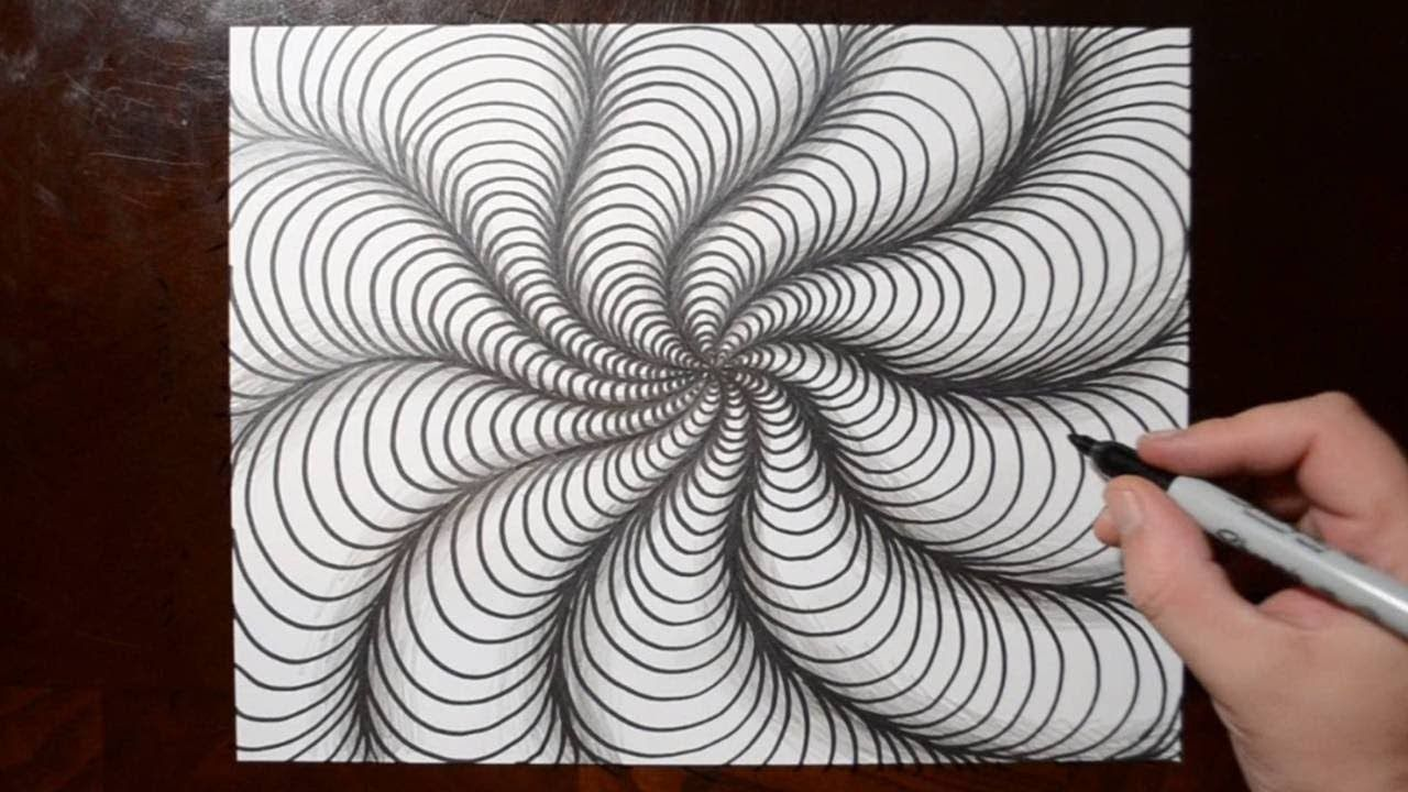 How to Draw Curved Line Illusions - Spiral Sketch Pattern 10 ...