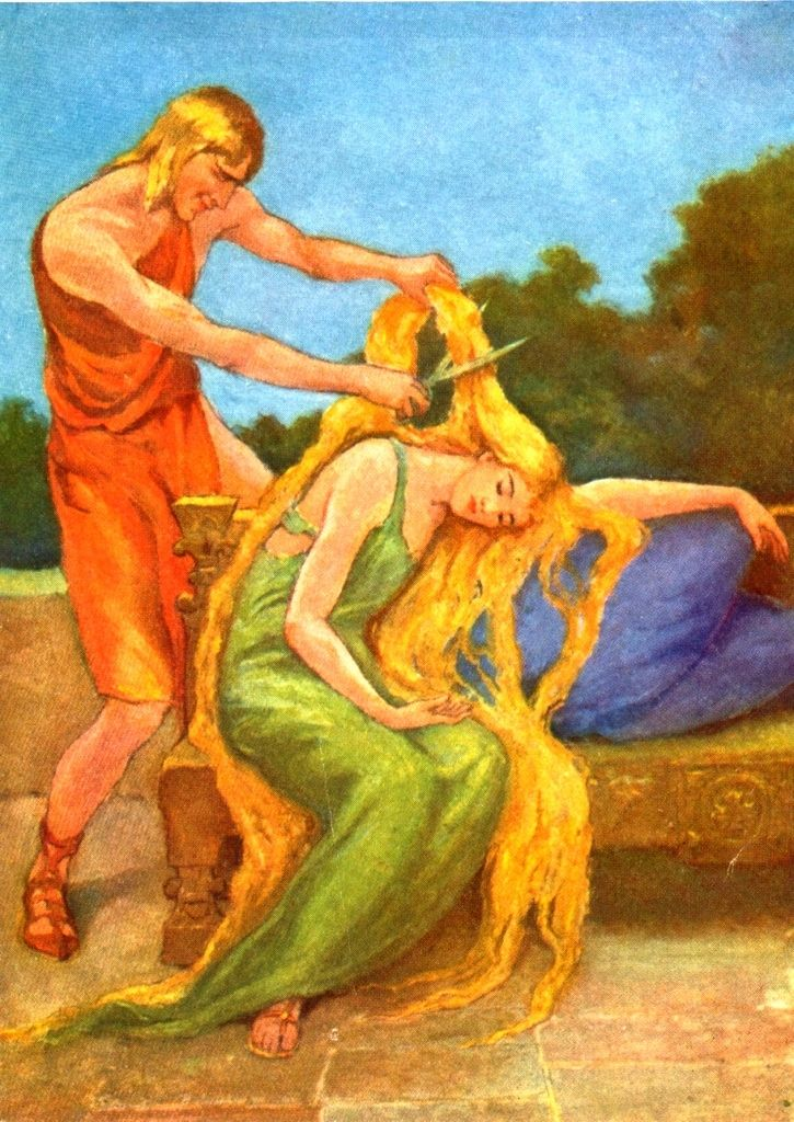 Image of Loki cutting Sif's beautiful hair