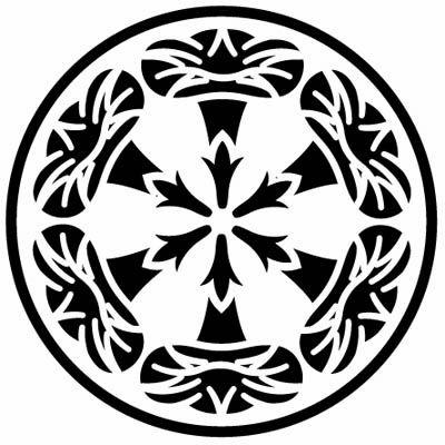糸輪に六つ朝顔紋 Morning Glory ジャパニーズビューティー 家紋 切り絵 図案