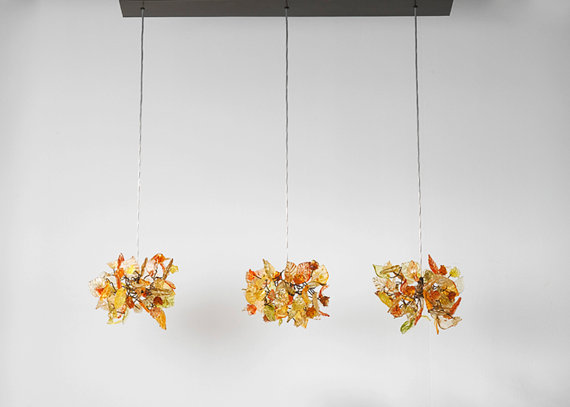Triple light chandelier Orange and natural by Flowersinlight, $479.00